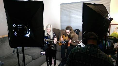 Trevor filming Brenda and Thom's live performance.